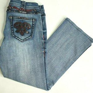 Cowgirl Tuff Red Rodeo Denim Studded Jeans